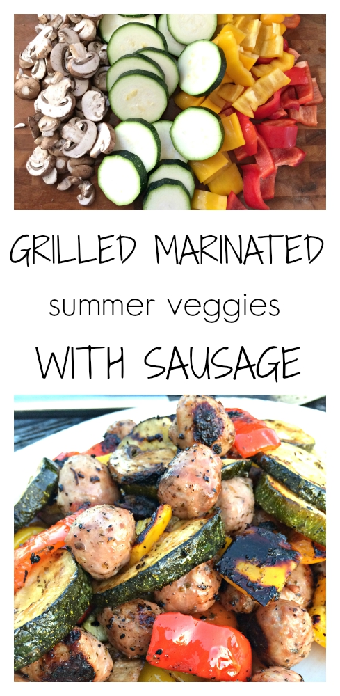 Grilled Marinated Summer Veggies with Sausage | get the recipe at: www.pearlsandsportsbras.com |