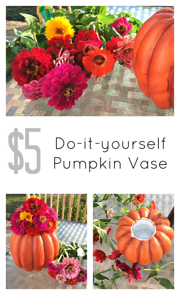 $5 Do-it-yourself Pumpkin Vase, check out the step by step directions at: www.pearlsandsportsbras.com