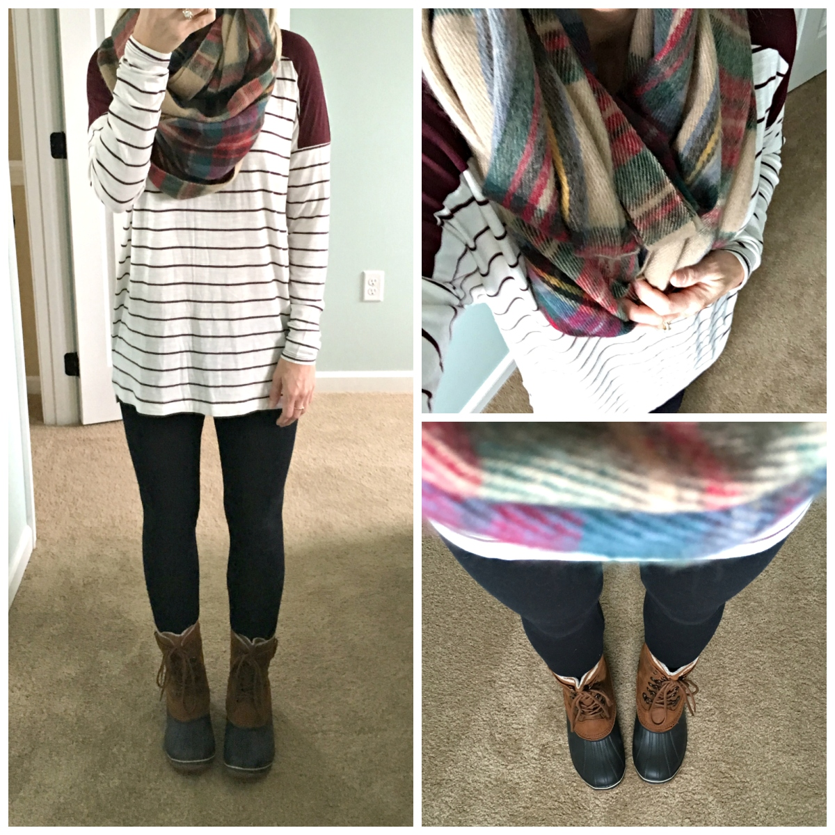 Plaid blanket scarf and Sorel snow boots |www.pearlsandsportsbras.com|