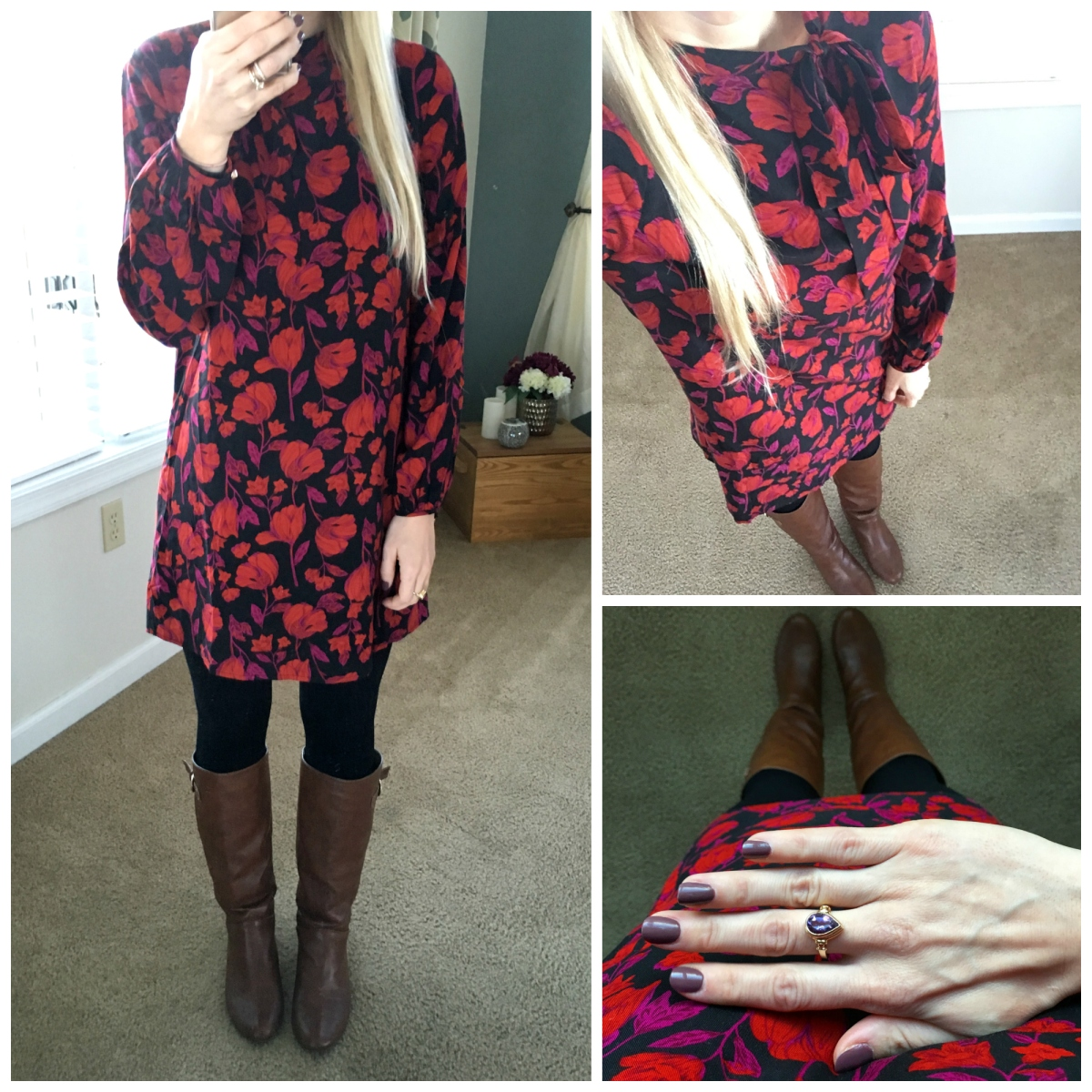 Bold floral fall shift dress with leggings and boots!