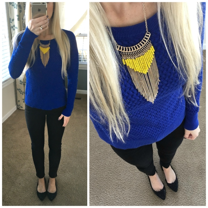 Bold colors mix well together - especially with simple sweaters