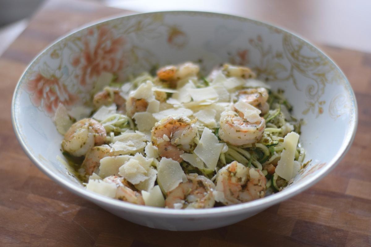 Parmesan Pesto Shrimp with Zucchini Noodles