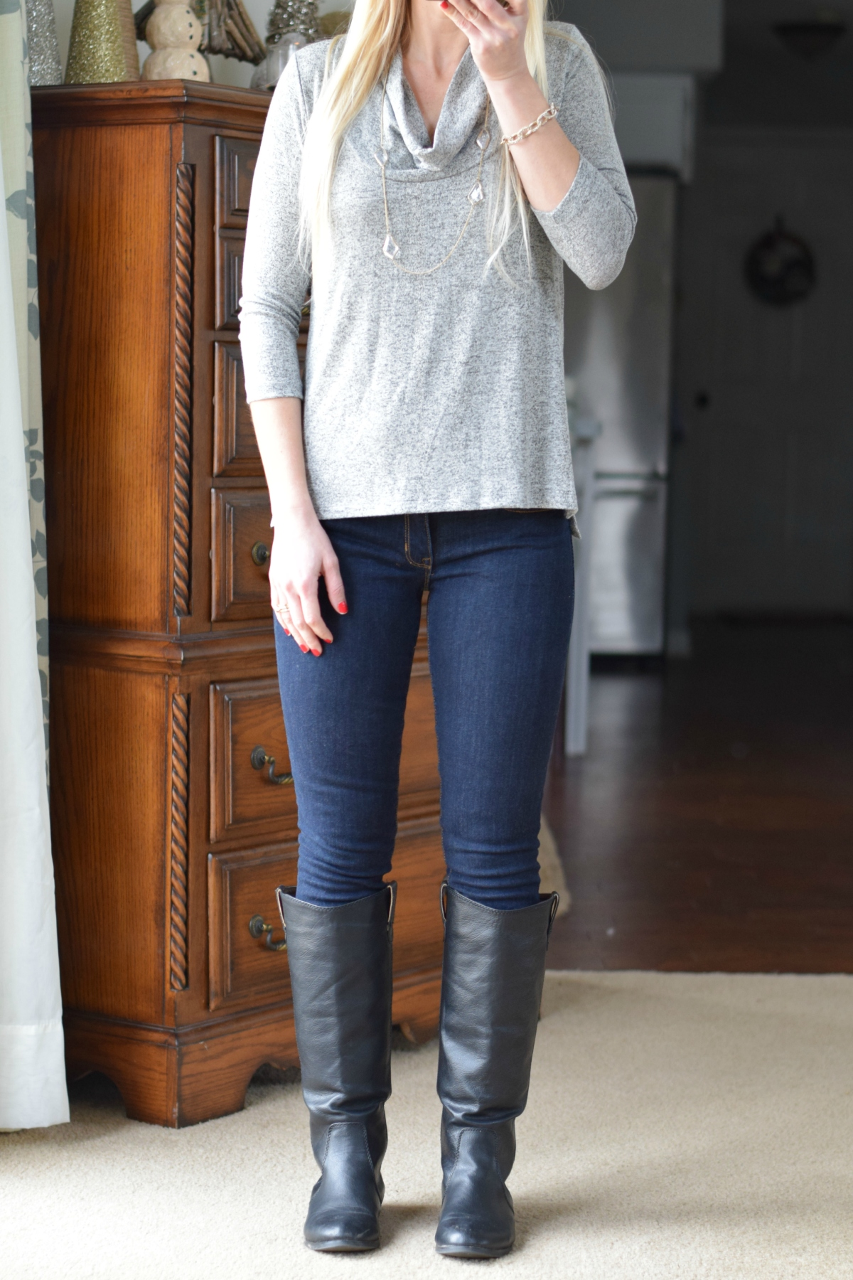 December 2015 Stitch Fix Review: Market and Spruce Chaimbers Cowl Neck Knit Top |www.pearlsandsportsbras.com|