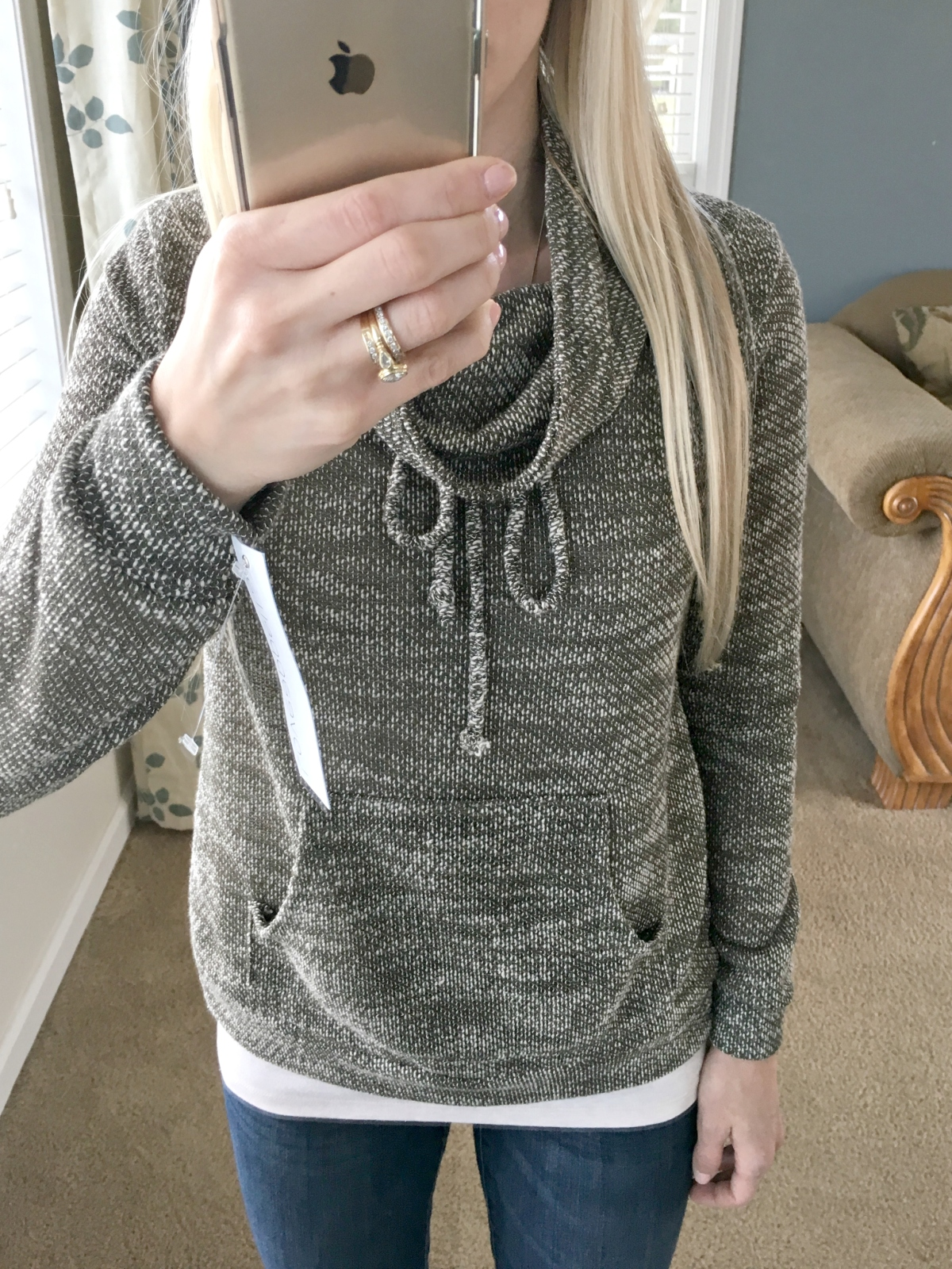 Loveappella Evie Draw String Funnel Neck Sweatshirt: December 2015 Stitch Fix Review |www.pearlsandsportsbras.com|