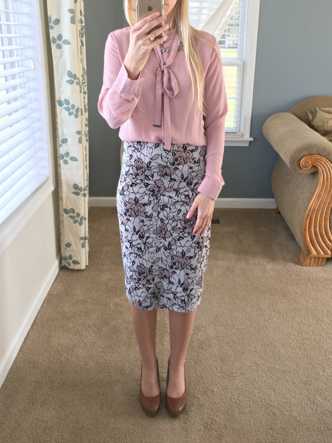Papermoon Cheryl Printed Pencil Skirt: December 2015 Stitch Fix Review |www.pearlsandsportsbras.com|