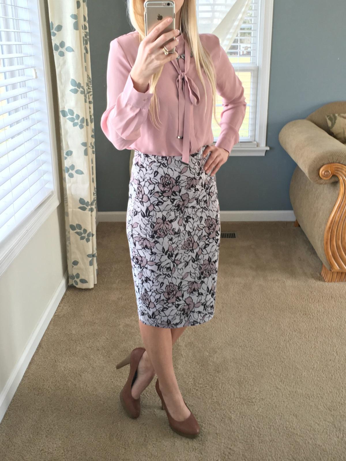 Papermoon Cheryl Printed Pencil Skirt: December 2015 Stitch Fix Review |www.pearlsandsportsbras.com|