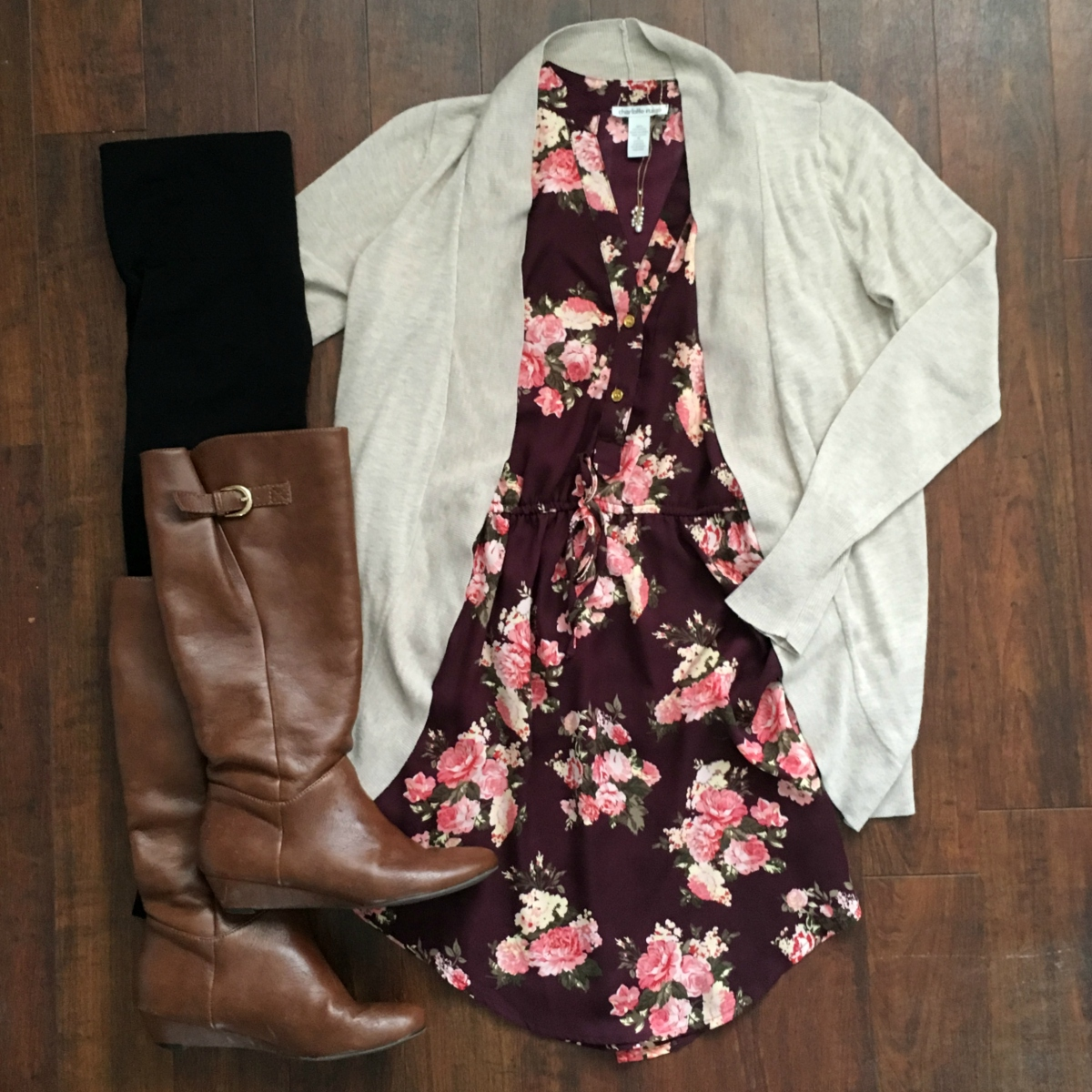 Floral dress with a boyfriend cardigan, leggings, and boots