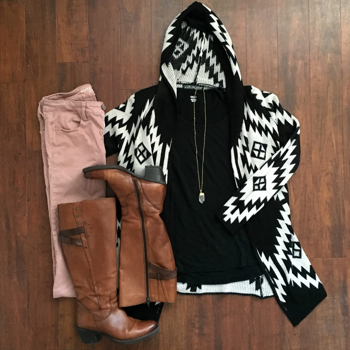 Aztec sweater and blush skinny jeans