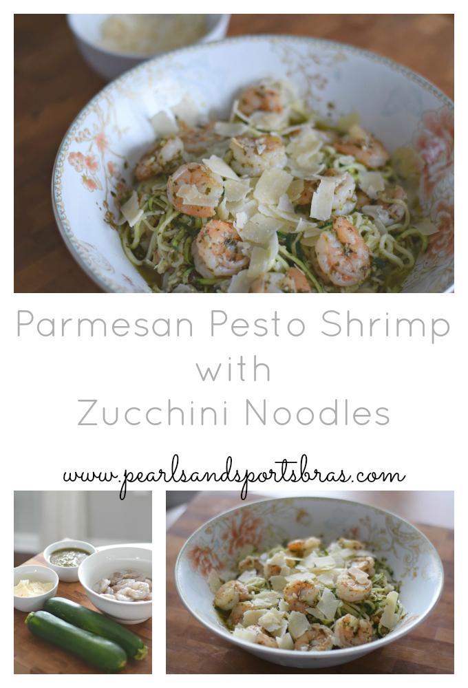 Parmesan Pesto Shrimp with Zucchini Noodles |www.pearlsandsportsbras.com|
