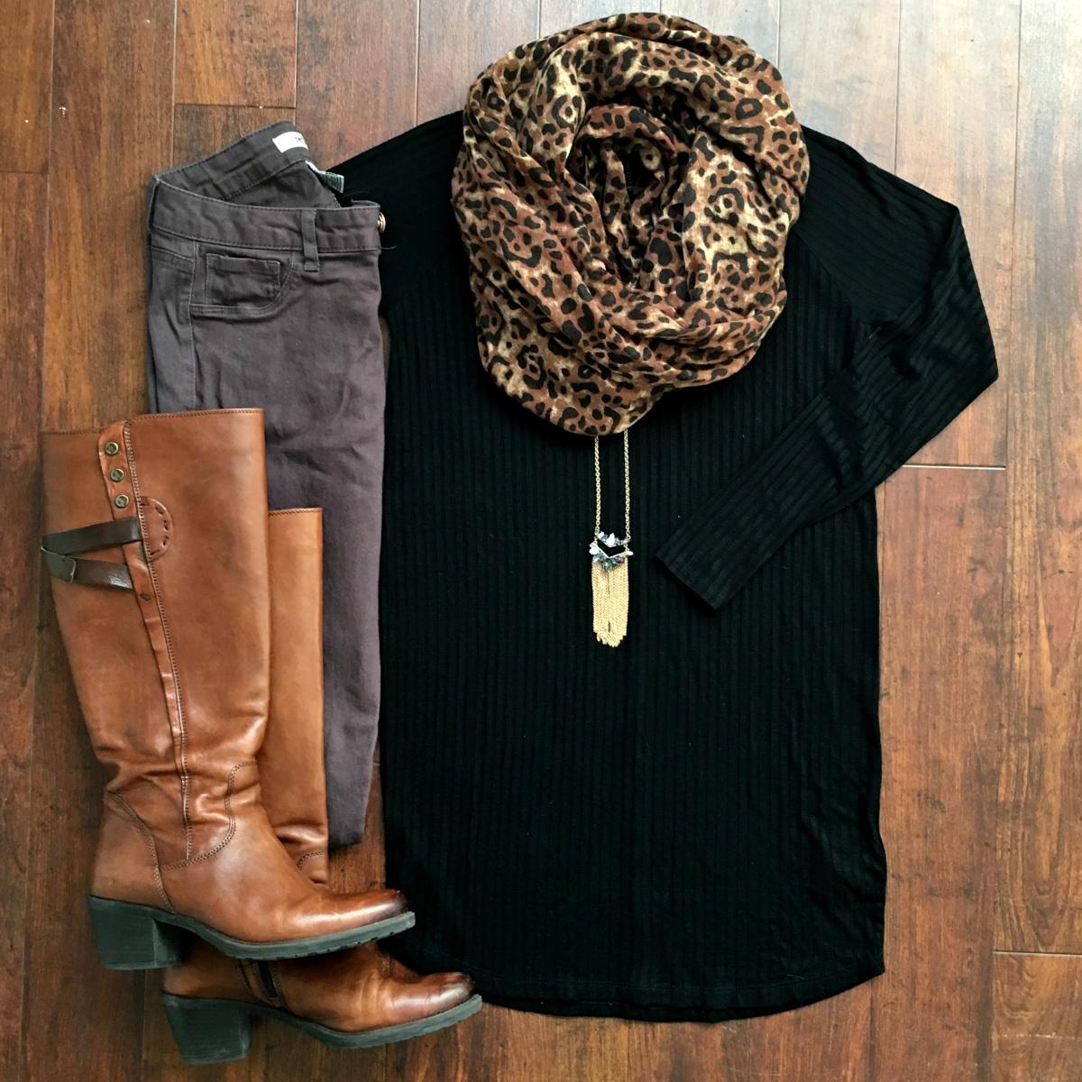 Mauve pants and a leopard scarf