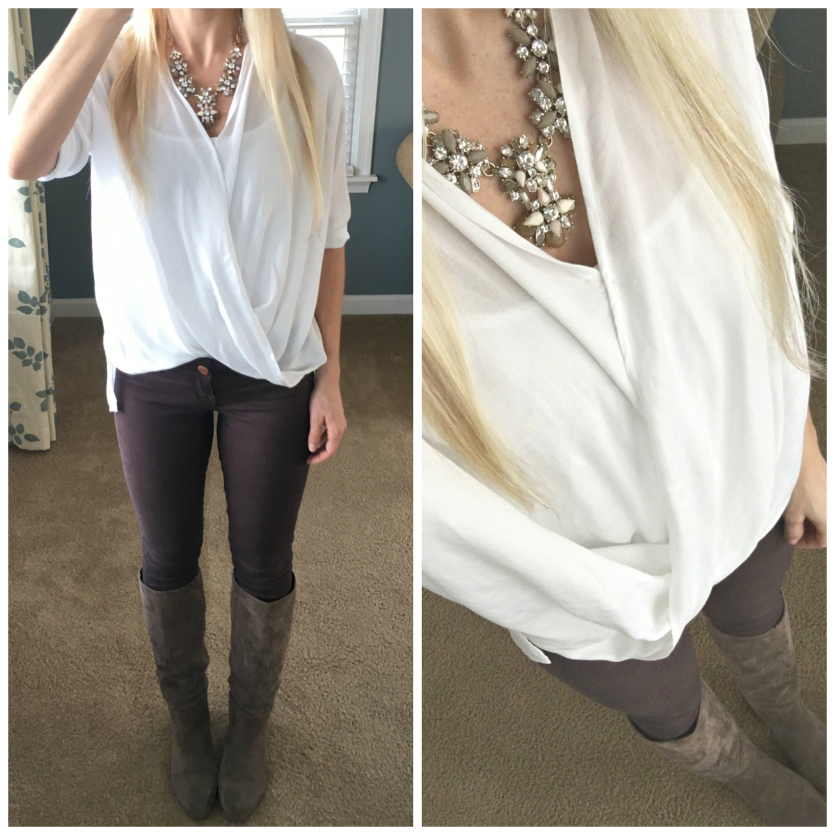 Flowy t-shirt blouse dressed up with a statement necklace and mauve skinny jeans and boots
