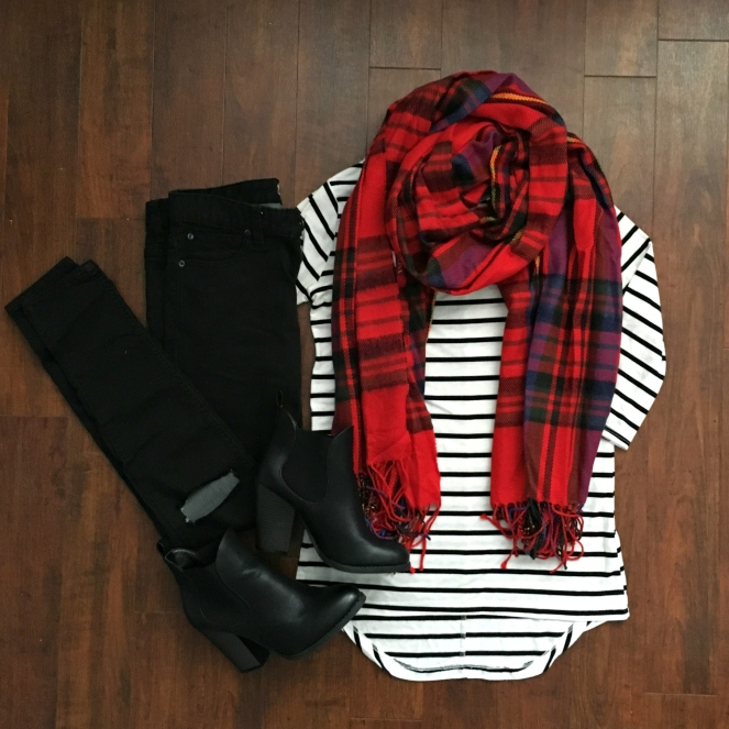Red plaid scarf with black skinny jeans and booties