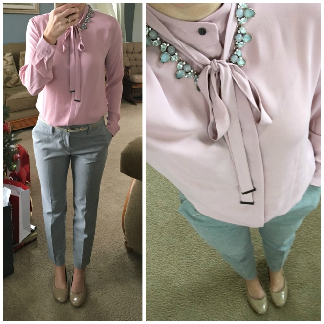 Pretty work look: grey pants with a pink top and nude wedges