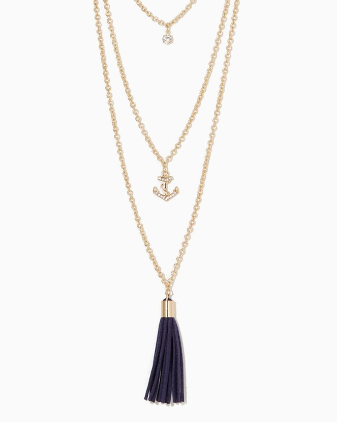 Charming Charlie Seascape Tassel Necklace