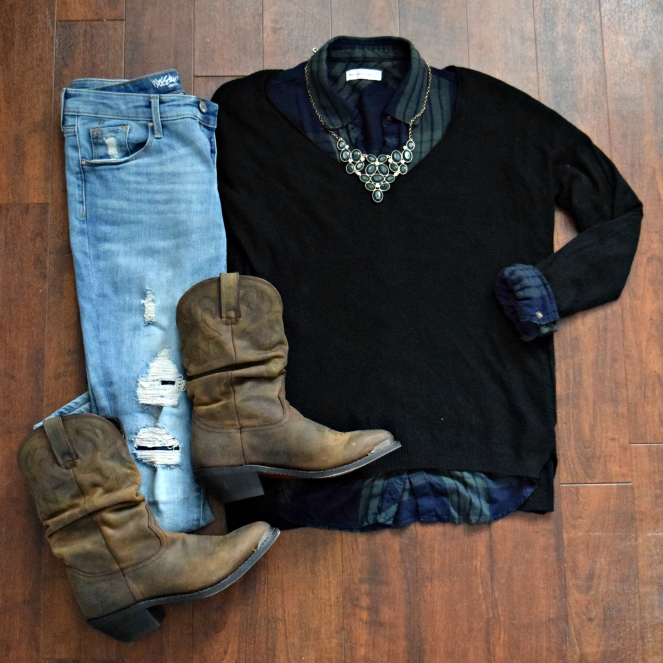 Destroyed jeans, cowboy boots, and plaid dressed up with with a sweater and a statement necklace
