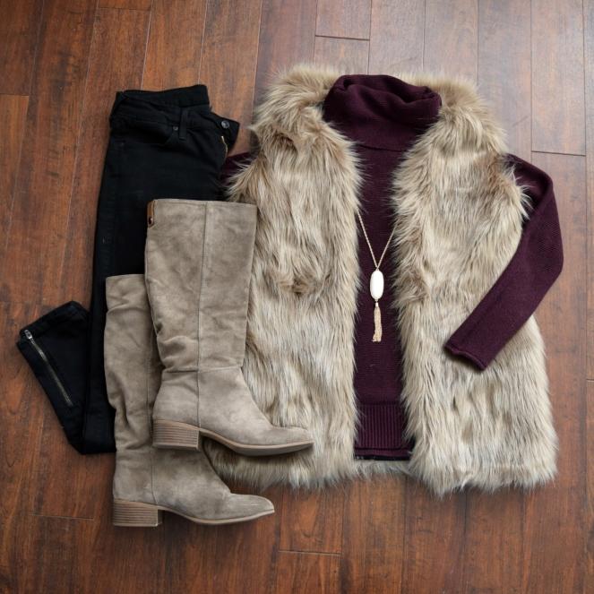 Faux fur vest and suede boots!