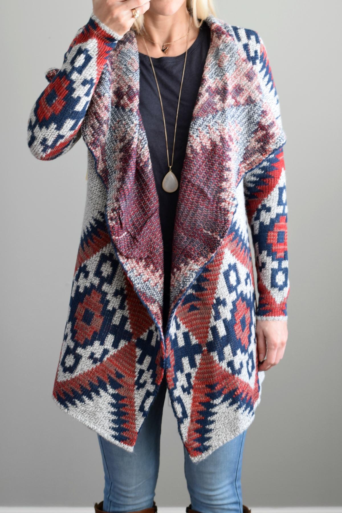 January 2016 Stitch Fix Review: RD Style Tawny Open Drape Cardigan |www.pearlsandsportsbras.com|