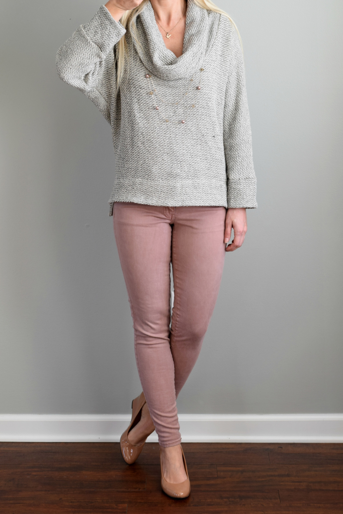 January 2016 Stitch Fix Review: Sweet Grey Cusso Cowl Neck Knit Pullover |www.pearlsandsportsbras.com|