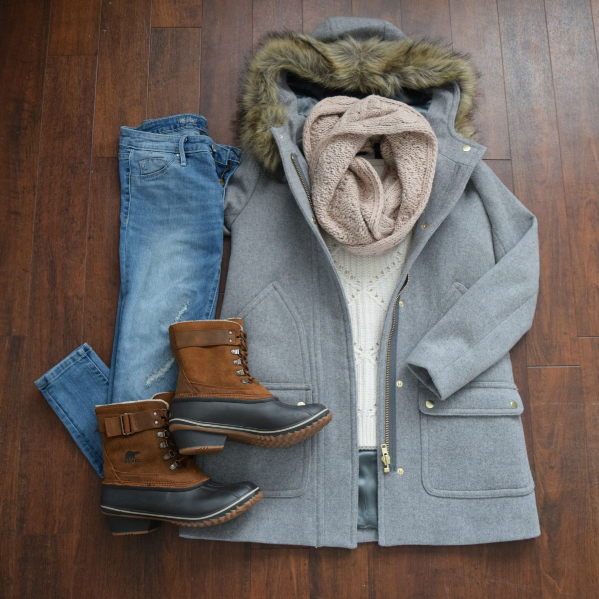J. Crew Factory Vail Parka and Sorel snow boots: chic style for winter