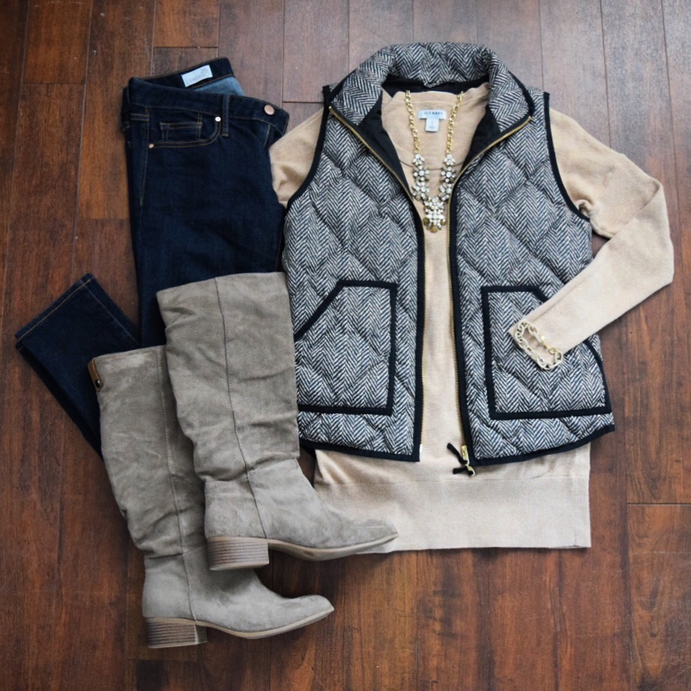 Herringbone Vest with a Tan Sweater and statement necklace