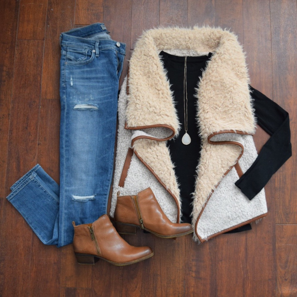 Such a cute and casual yet warm look, faux shearling vest, high-waisted jeans, and booties
