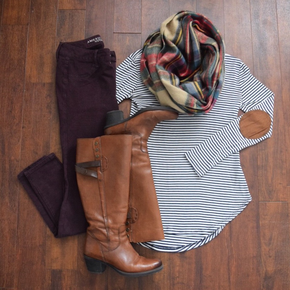 Elbow patch tunic, plaid scarf, and burdundy skinny jeans |www.pearlsandsportsbras.com|