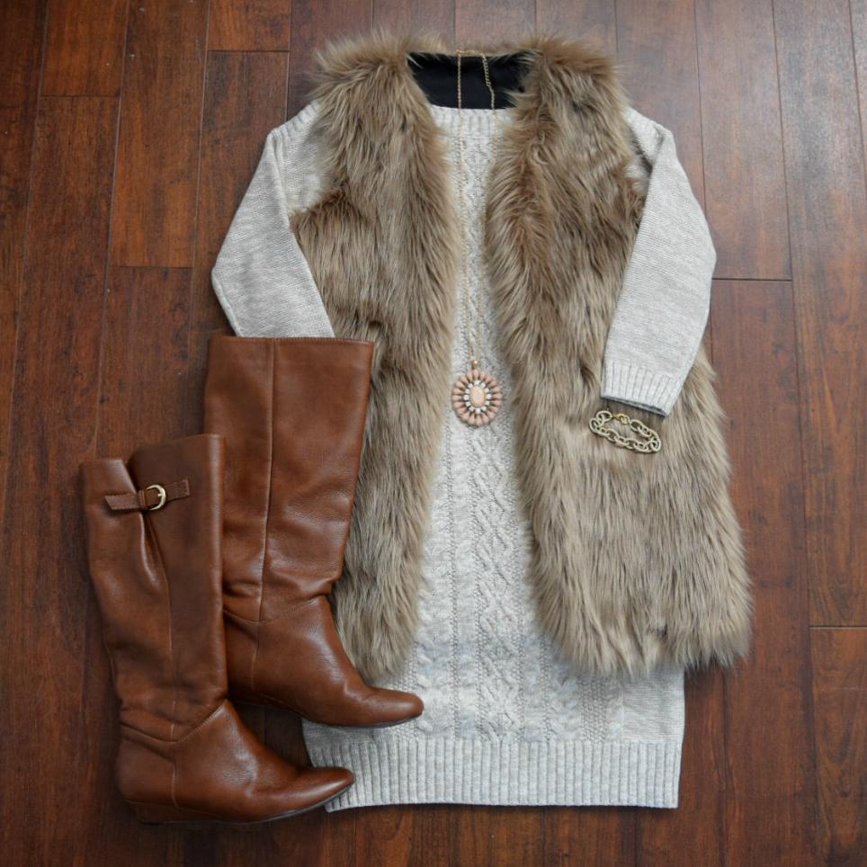 Pair a faux fur vest with a sweater dress!