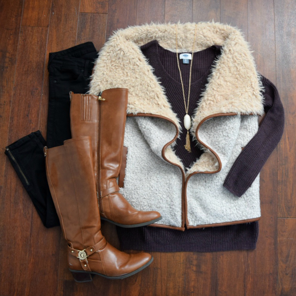 Faux shearling vest, over-sized sweater, and riding boots