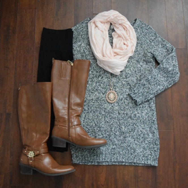 A sweaterdress and scarf: mix grey and blush