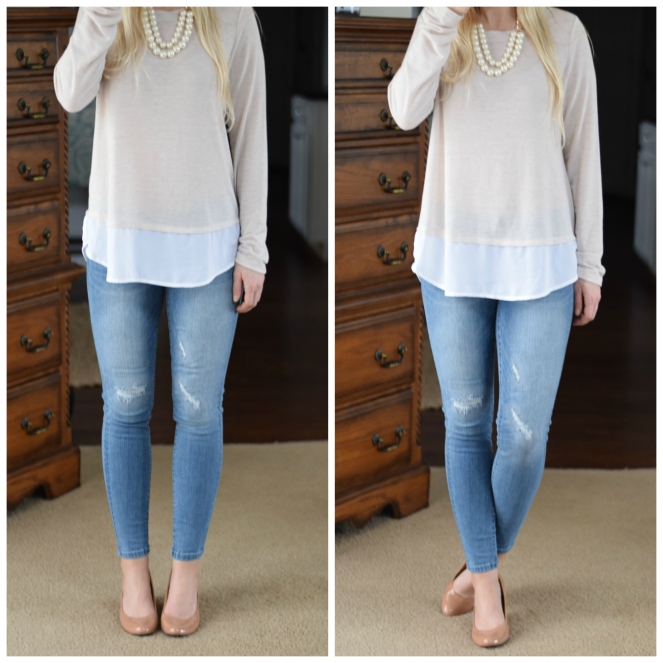 Pretty layered look with wedges and skinny jeans |www.pearlsandsportsbras.com|