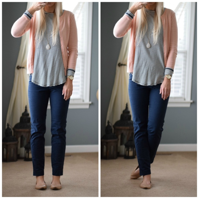 A cute way to begin to transition into spring: Mix peach with navy!
