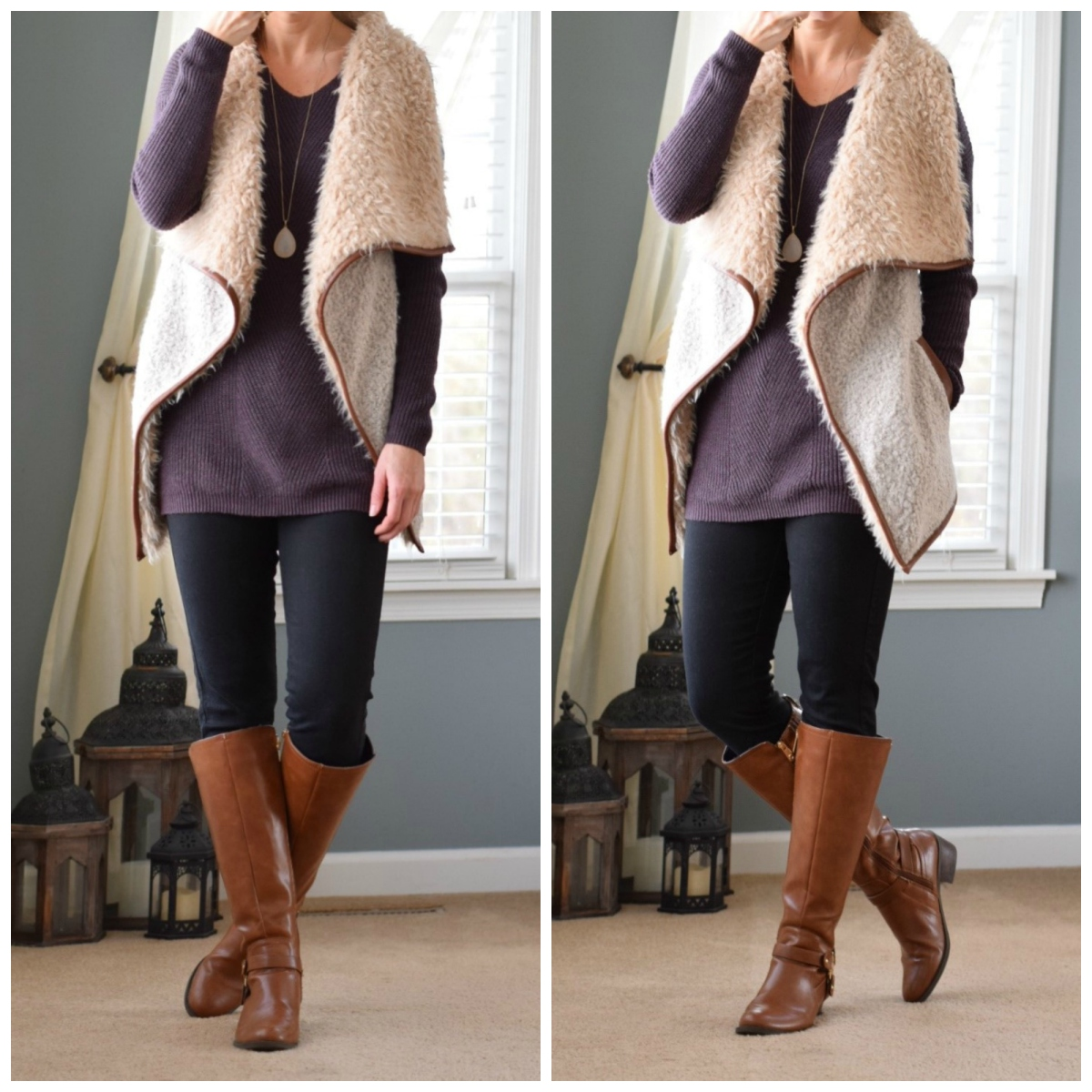 Pair a faux shearling vest with an oversized sweater for a cozy outfit