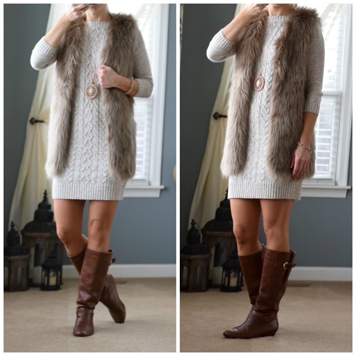 Faux fur vest and a sweater dress!