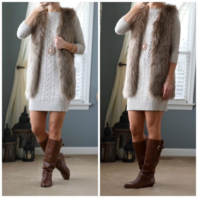 Faux fur vest and a sweater dress!