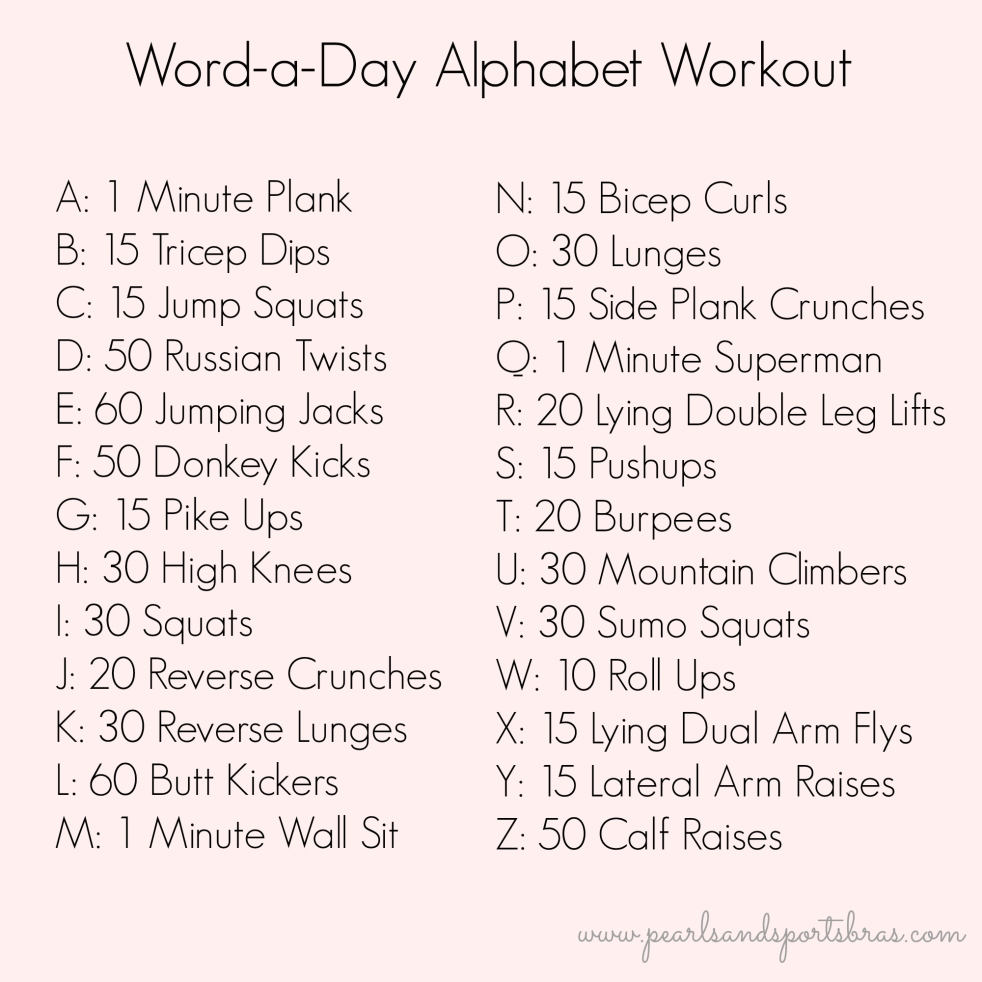 Word of the day Alphabet Workout |www.pearlsandsportsbras.com|