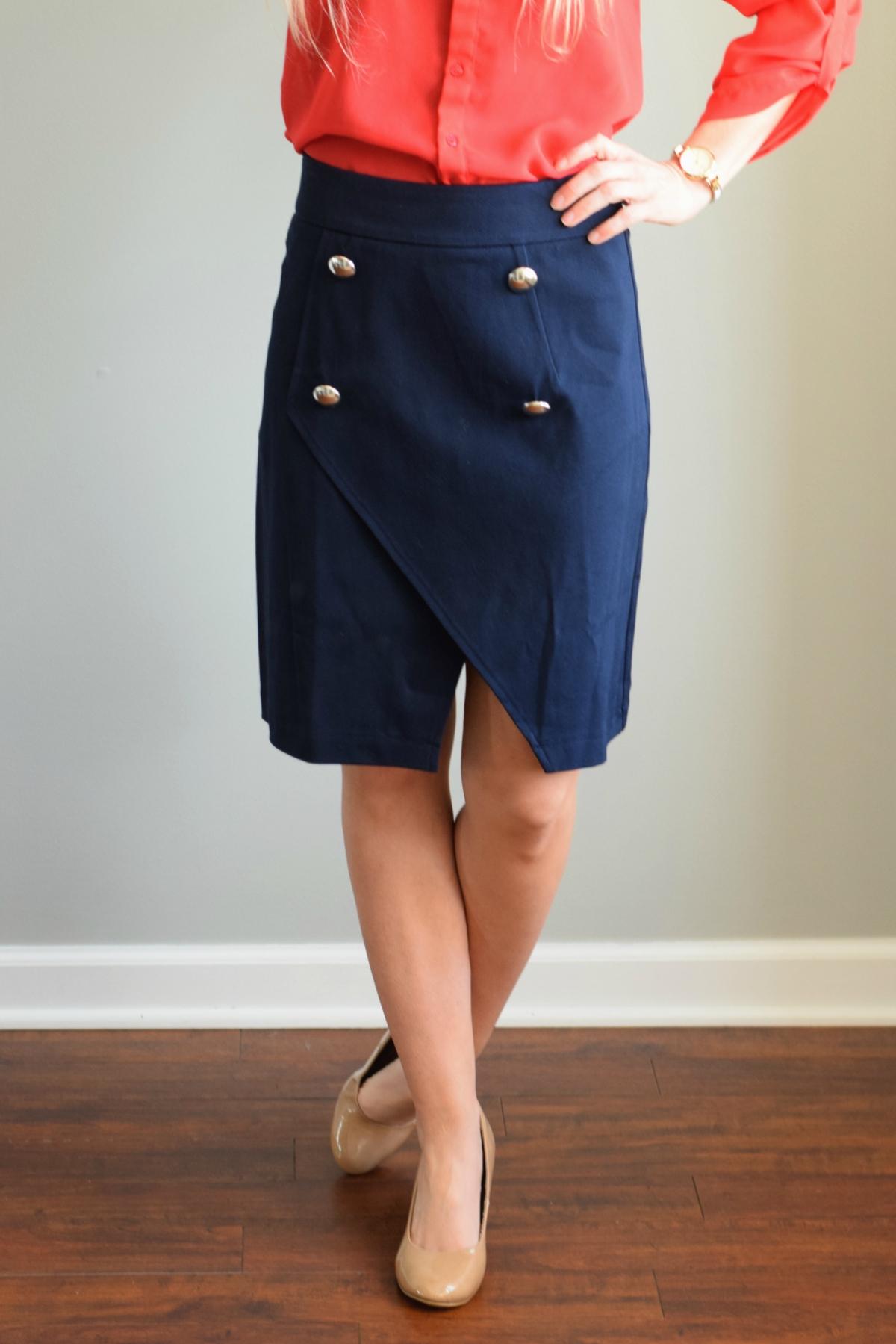 March 2016 Stitch Fix Review: 41Hawthorn Piper Asymmetrical Hem Skirt |www.pearlsandsportsbras.com|