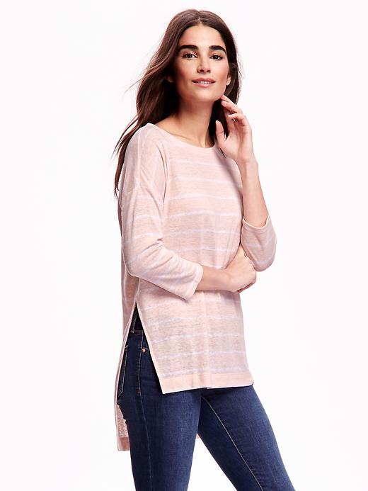 Linen-Blend Hi-Lo Tee from Old Navy