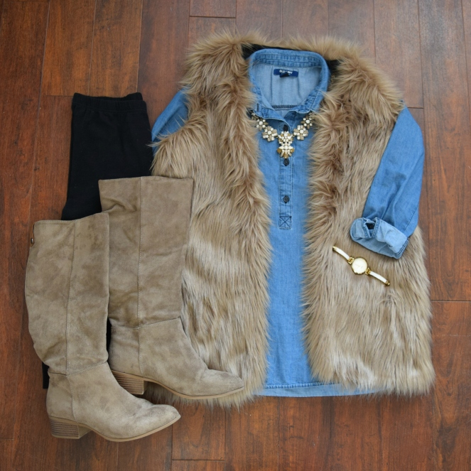 Faux fur vest, chambray shirt, faux suede boots, and leggings