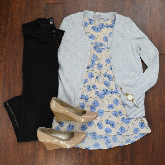 Fun printed top with a cardigan, black skinnies, and nude wedges