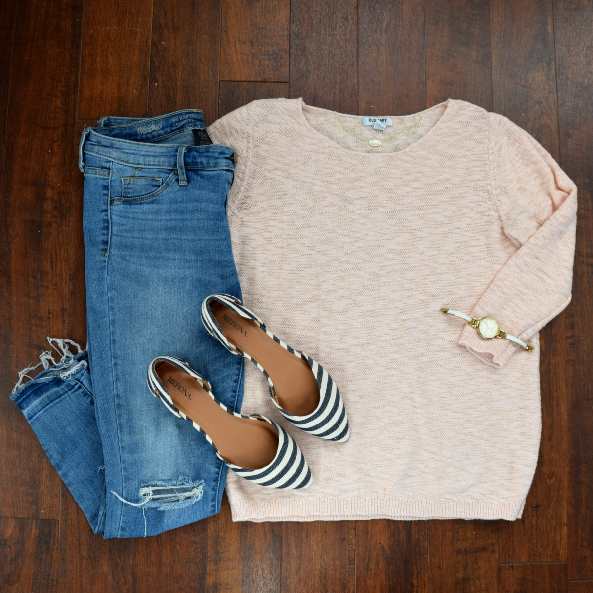 blush sweater and striped flats