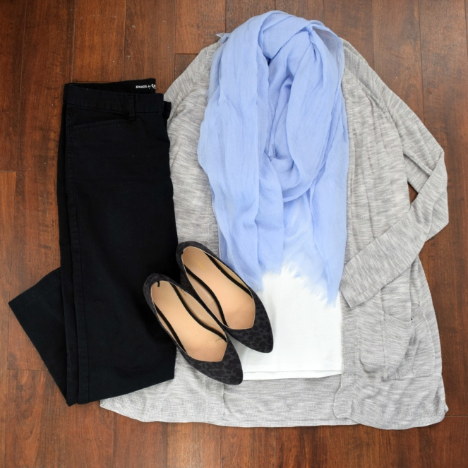 Periwinkle and grey with black leopard flats