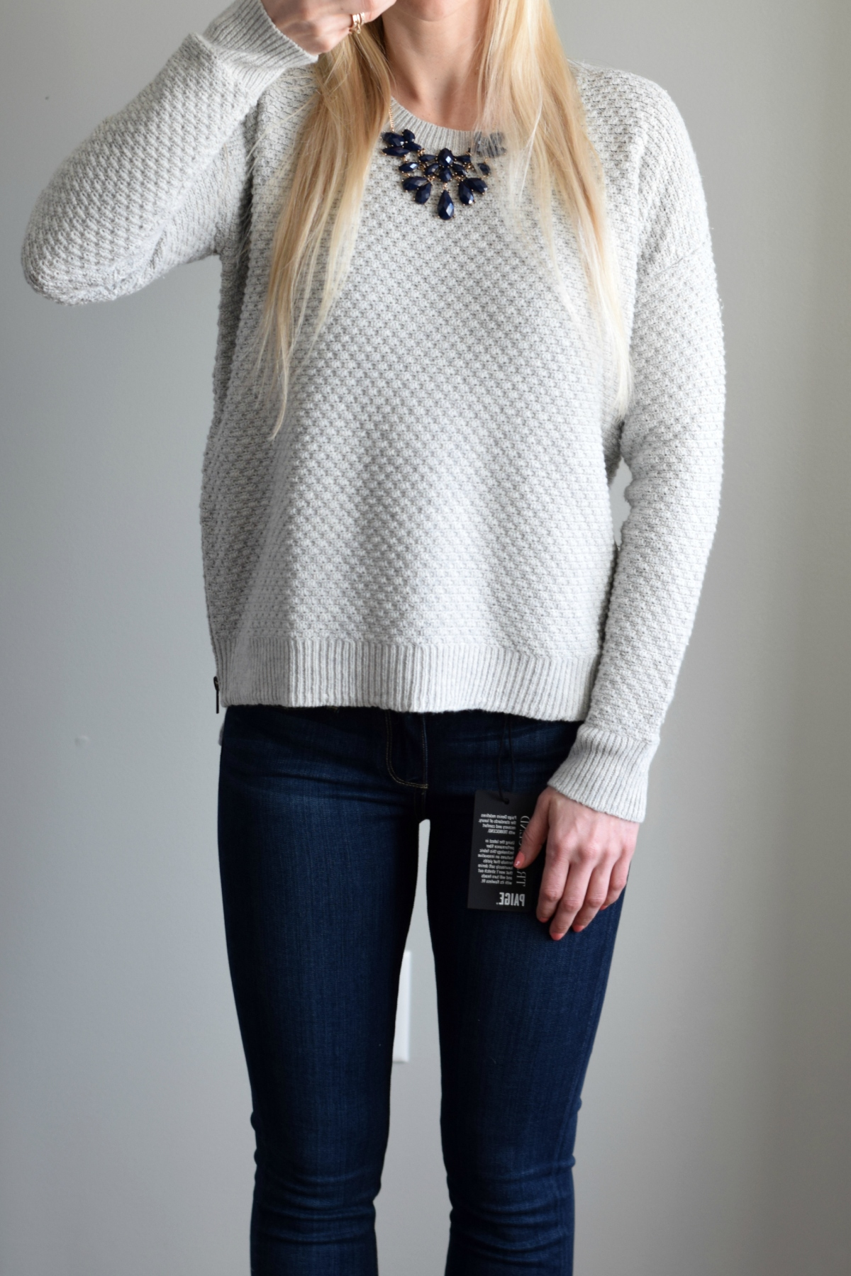 Trunk Club Review: Madewell Texture Sweater and Paige Denim |www.pearlsandsportsbras.com|