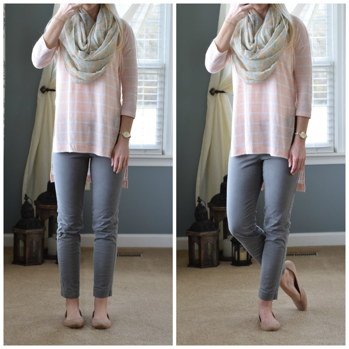 Pink and Grey! a linen striped over-sized top, floral scarf, gray pants, and nude flats