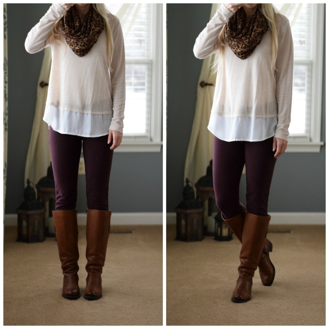 Layered sweater, burgundy skinny jeans, leopard scarf, and riding boots