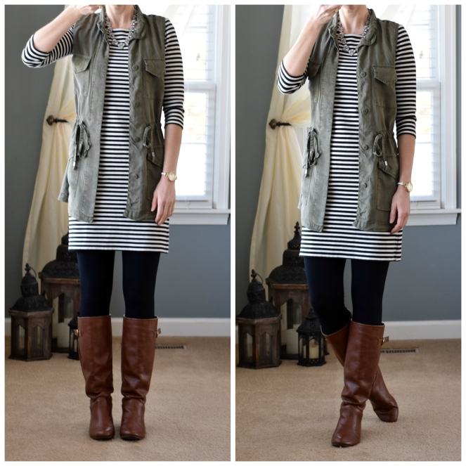 Cargo vest, striped dress, leggings, and riding boots