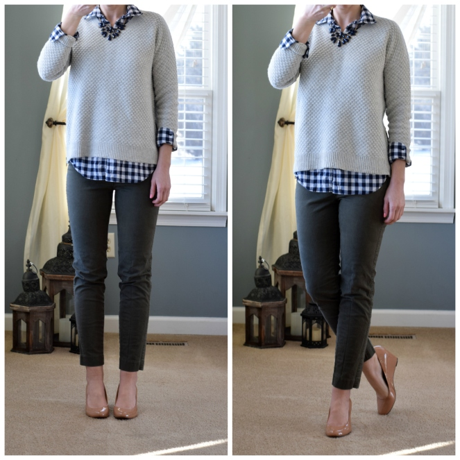 Fitted sweater, gingham, green chinos, and nude wedges