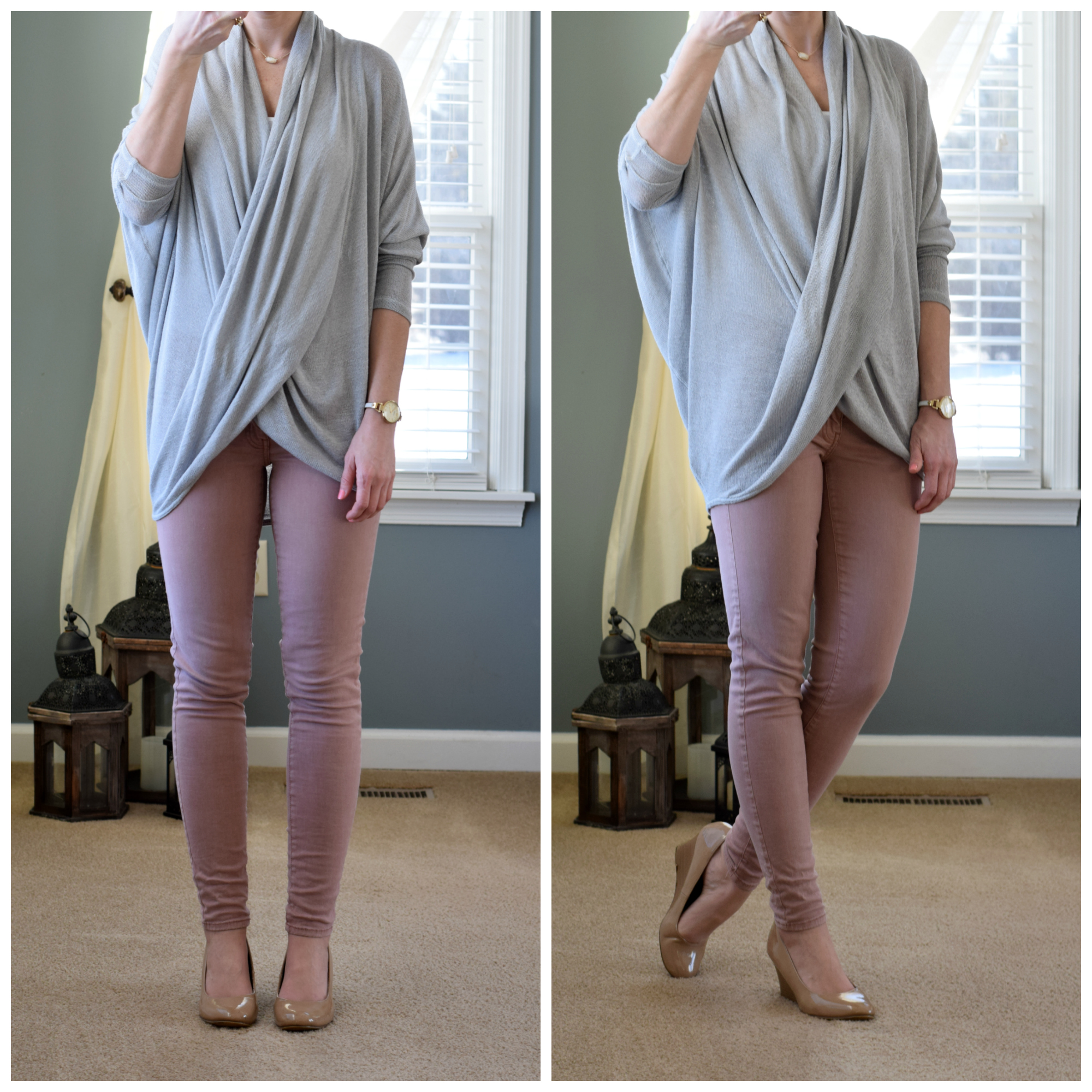 Cozy wrap top and muted pink skinny jeans