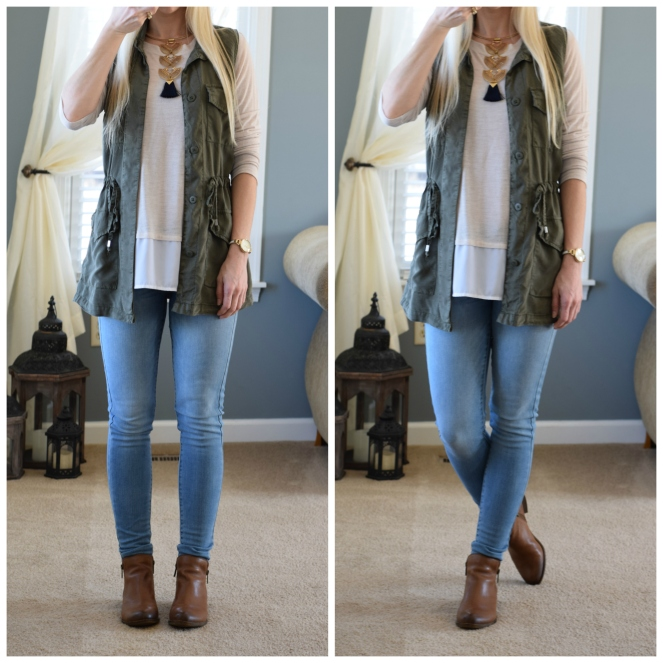 green utility/cargo vest, layered top, and tassel necklace