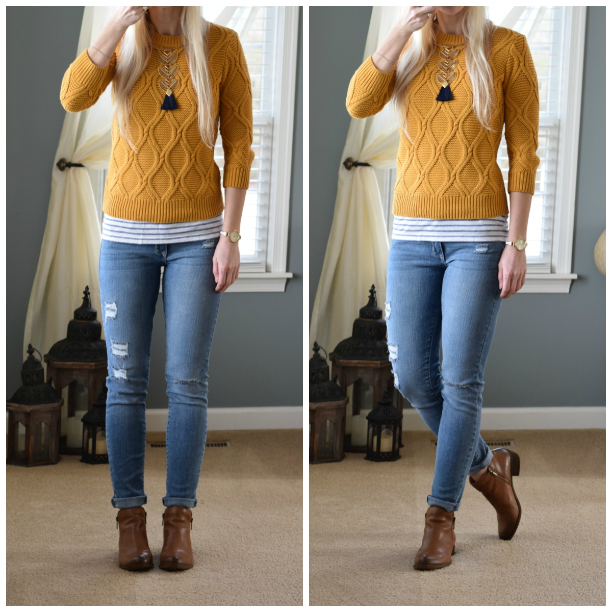 Yellow sweater, navy tassel statement necklace, and ankle boots