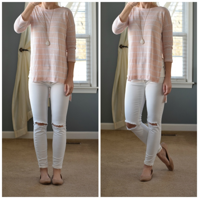 white distroyed skinny jeans, pink linen stripe top, and flats